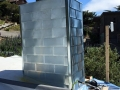 Zinc shingles on a chimney