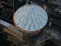 custom round gutter installed on turret