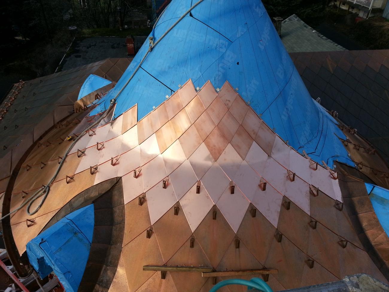 copper snow hooks for shingles on copper turret