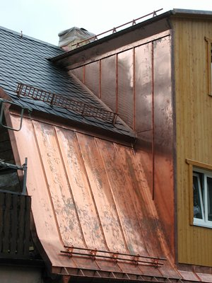 Copper Standing Seam Roof With Snow Guards