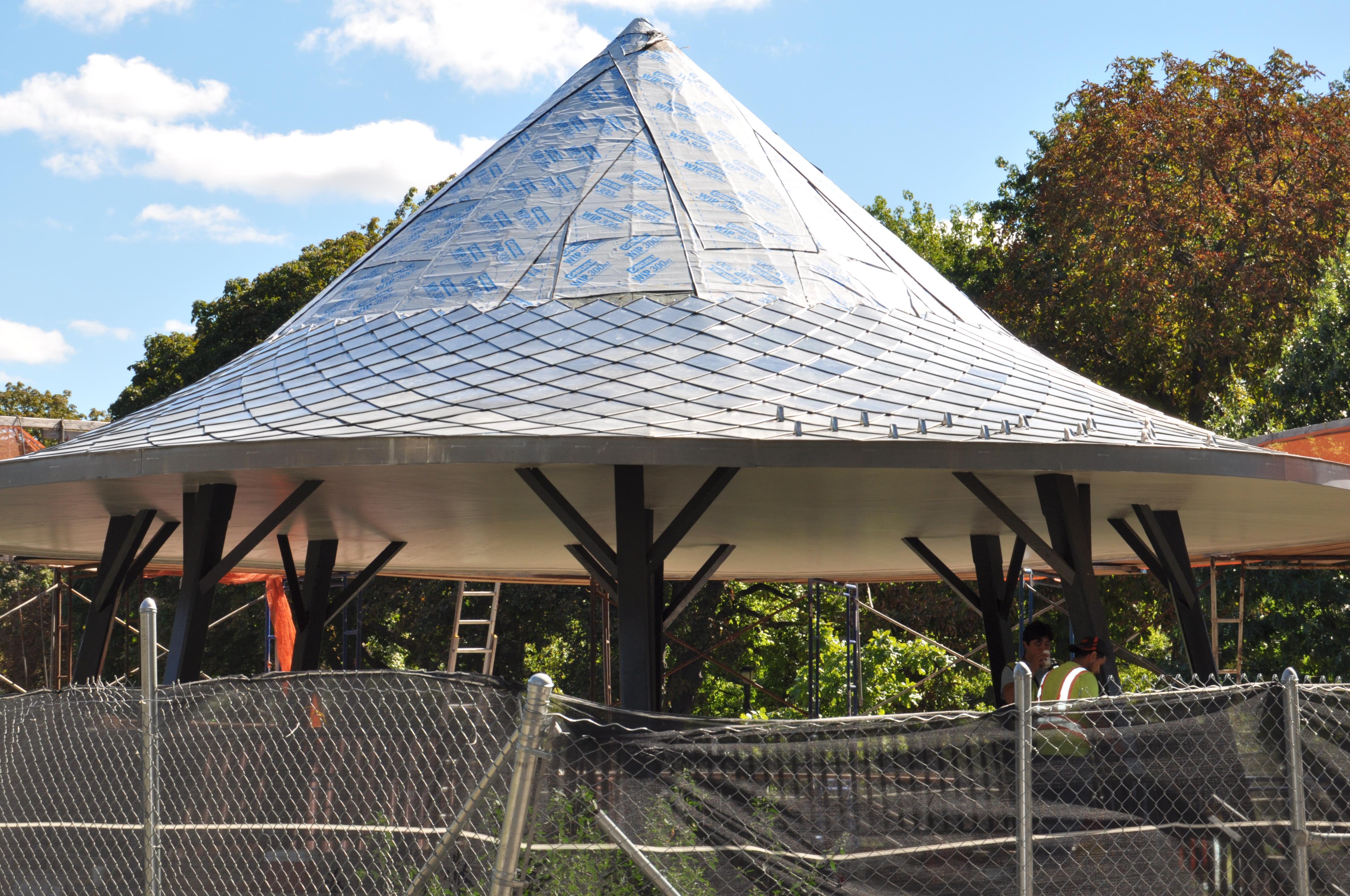 terne shingle turret construction
