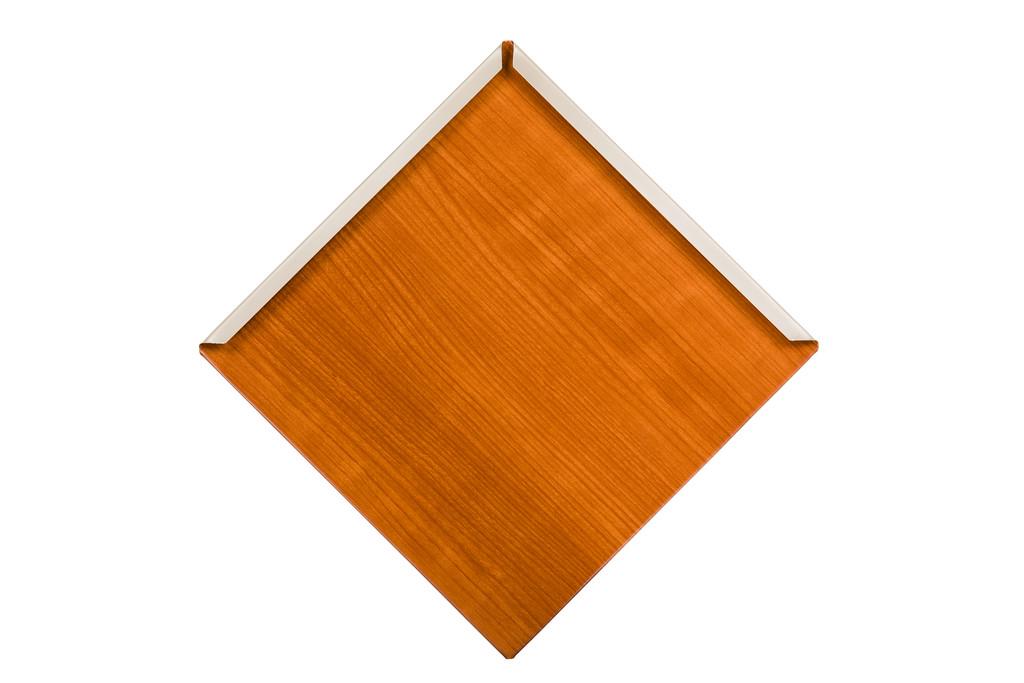 Diamond shaped metal roof shingle woodgrain paint Saddle