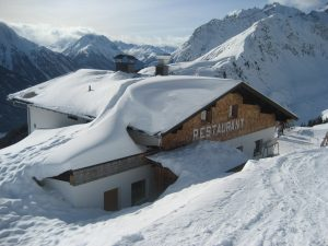 restaurant in snow in mountains