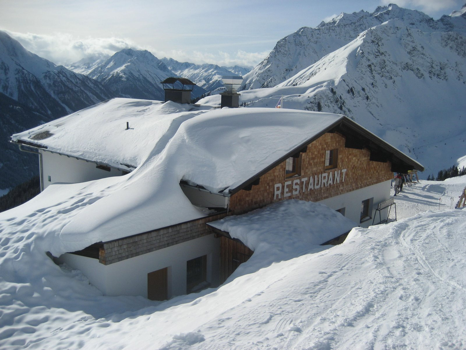 Restaurant In Snow In Mountains Fine Metal Roof Tech