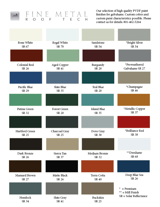 Color Chart 2018 Fine Metal Roof Tech