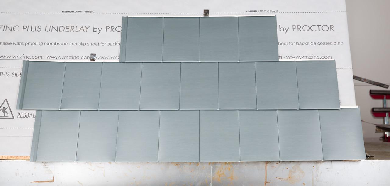 zinc Quadro shingles in Rheinzink's Graphite Gray – FINE