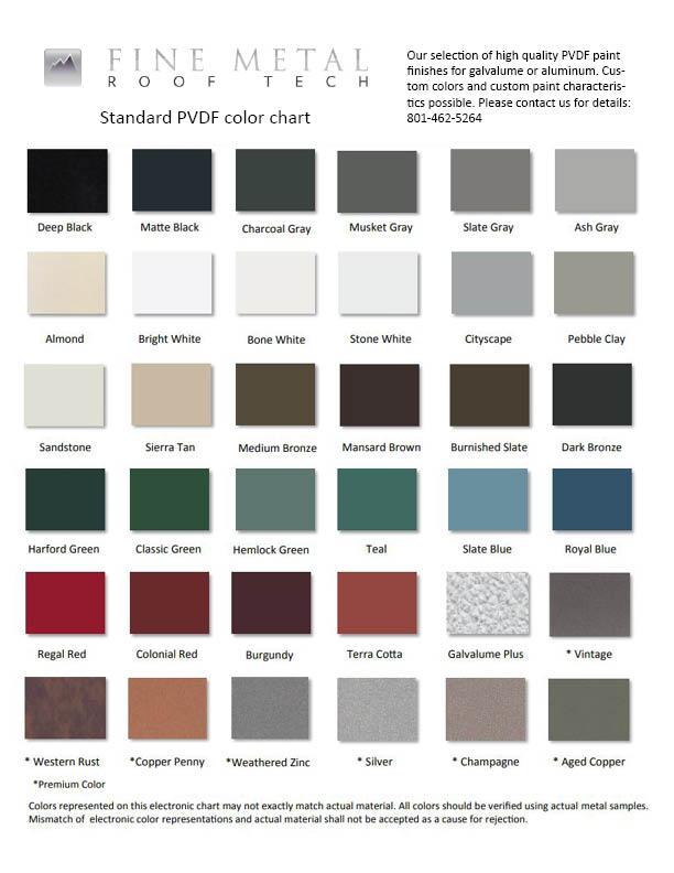 Pvdf Color Chart Fine Metal Roof Tech